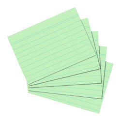index card A5 ruled green, 100...