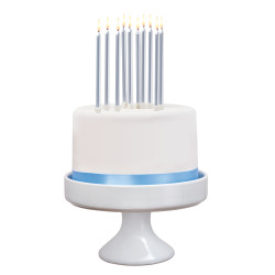 Candles silver with holders, o...