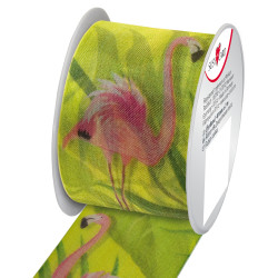 Textile ribbon Rose Flamingo