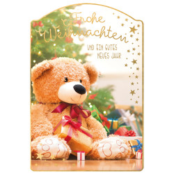 Greeting card christmas teddy