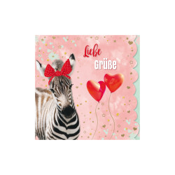 Greeting card Cuddles zebra