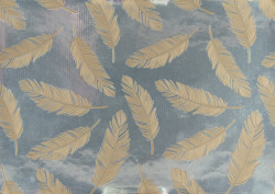 Gift wrap 1,5m Feathers gold